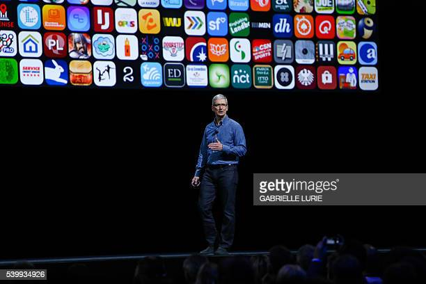 Apple CEO Tim Cook delivers the keynote address at Apple's annual Worldwide Developers Conference at the Bill Graham Civic Auditorium in San...