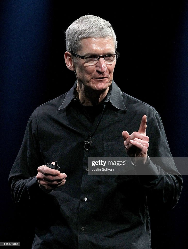 Apple CEO Tim Cook delivers the keynote address at the Apple 2012 World Wide Developers Conference (WWDC) at Moscone West on June 11, 2012 in San Francisco, California. Apple unveiled a slew of new hardware and software updates at the company's annual developer conference which runs through June 15.