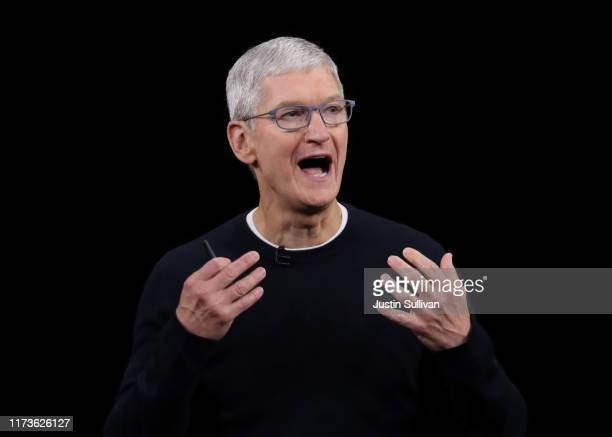 Apple CEO Tim Cook delivers the keynote address during a special event on September 10, 2019 in the Steve Jobs Theater on Apple's Cupertino,...