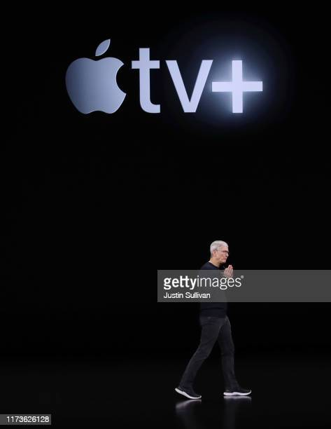Apple CEO Tim Cook delivers the keynote address during a special event on September 10 2019 in the Steve Jobs Theater on Apple's Cupertino California...