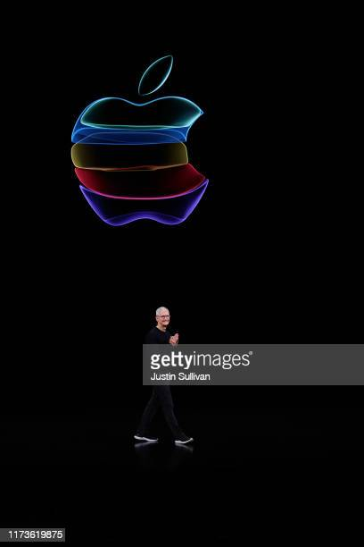 Apple CEO Tim Cook delivers the keynote address during an Apple special event on September 10 2019 in Cupertino California Apple is unveiling new...