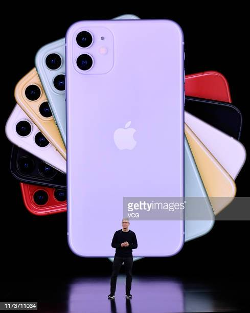 Apple CEO Tim Cook delivers the keynote address during an Apple launch event on September 10 2019 in Cupertino California Apple unveiled several new...