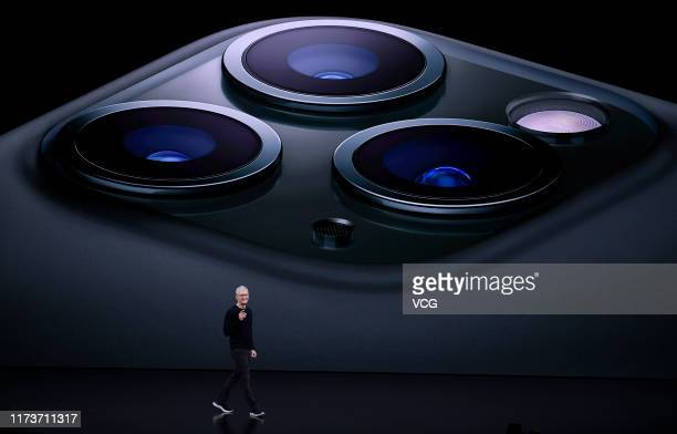 Apple CEO Tim Cook delivers the keynote address during an Apple launch event on September 10, 2019 in Cupertino, California. Apple unveiled several...