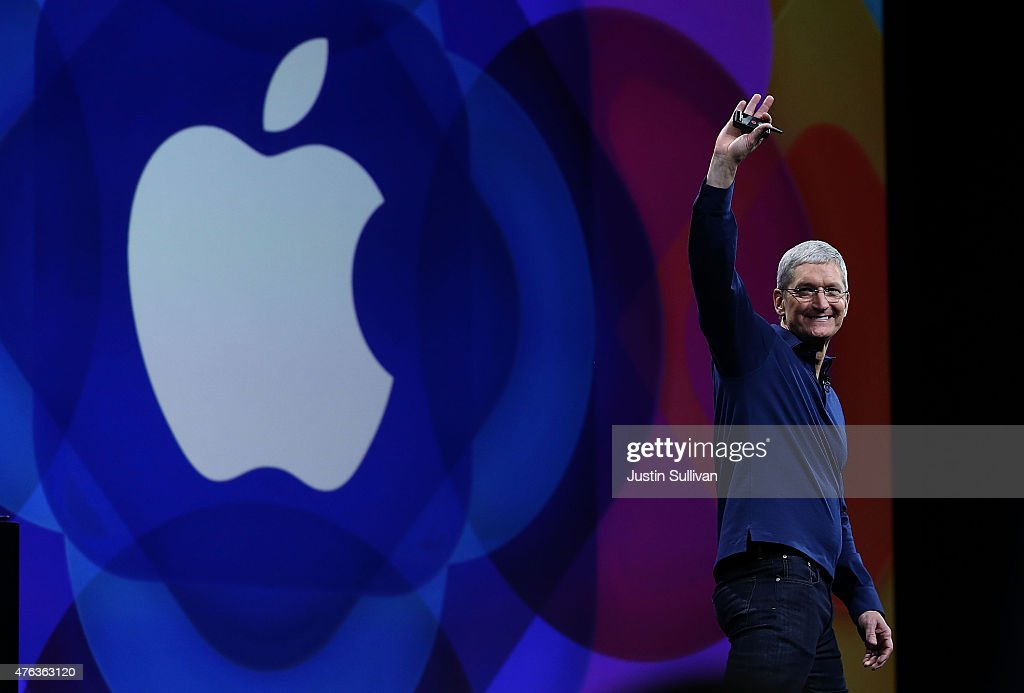 Apple CEO Tim Cook delivers the keynote address during Apple WWDC on June 8, 2015 in San Francisco, California. Apple annouced a new OS X, El Capitan, and a new iOS during the keynote at the annual developers conference that runs through June 12.