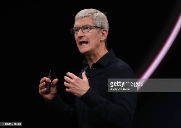 Apple CEO Tim Cook delivers the keynote address during the 2019 Apple Worldwide Developer Conference at the San Jose Convention Center on June 03,...