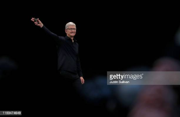 Apple CEO Tim Cook delivers the keynote address during the 2019 Apple Worldwide Developer Conference at the San Jose Convention Center on June 03...