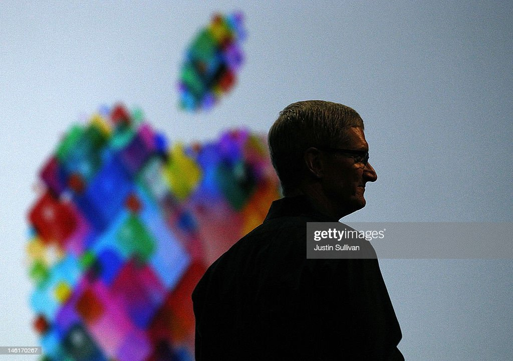 Apple CEO Tim Cook delivers the keynote address during the Apple 2012 World Wide Developers Conference (WWDC) at Moscone West on June 11, 2012 in San Francisco, California. According to reports Apple is expected to unveil a slew of new hardware and software updates at the company's annual developer conference which runs through June 15.