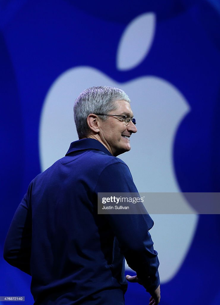 Apple CEO Tim Cook delivers the keynote address during the Apple WWDC on June 8, 2015 in San Francisco, California. Apple annouced a new OS X, El Capitan, iOS 9 and Apple Music during the keynote at the annual developers conference that runs through June 12.