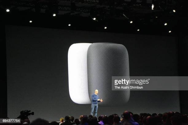 Apple CEO Tim Cook delivers the opening keynote address during the 2017 Apple Worldwide Developer Conference at the San Jose Convention Center on...