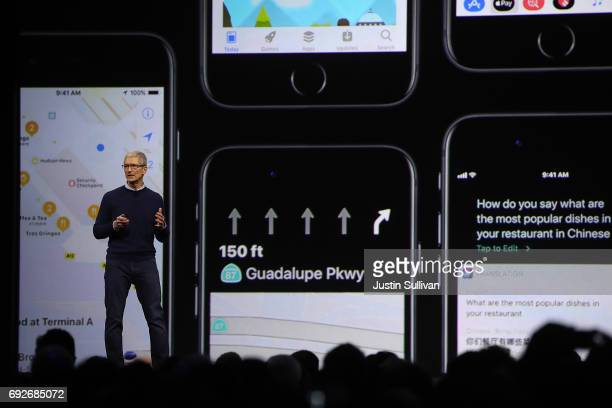 Apple CEO Tim Cook delivers the opening keynote address the 2017 Apple Worldwide Developer Conference at the San Jose Convention Center on June 5...