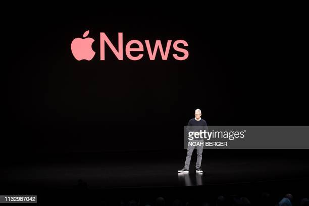 Apple CEO Tim Cook discusses Apple News during a launch event at Apple headquarters on Monday March 25 in Cupertino California With Hollywood stars...