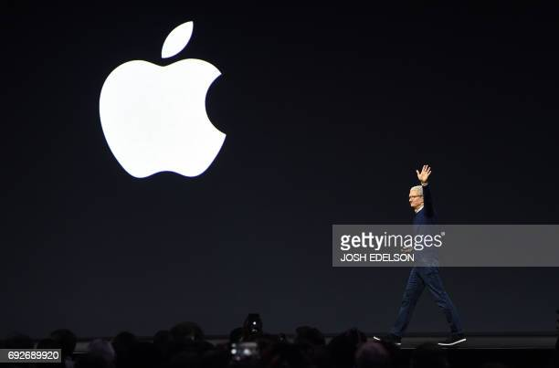Apple CEO Tim Cook exits the stage during Apple's Worldwide Developers Conference in San Jose California on June 5 2017