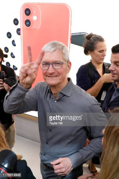 Apple CEO Tim Cook greets customers at the grand reopening of Apple's flagship Apple Fifth Avenue retail store on September 20, 2019 in New York City.
