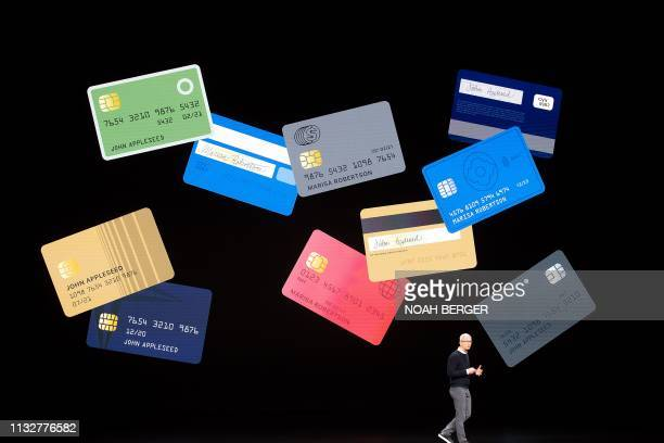 Apple CEO Tim Cook introduces Apple Card during a launch event at Apple headquarters on Monday March 25 in Cupertino California