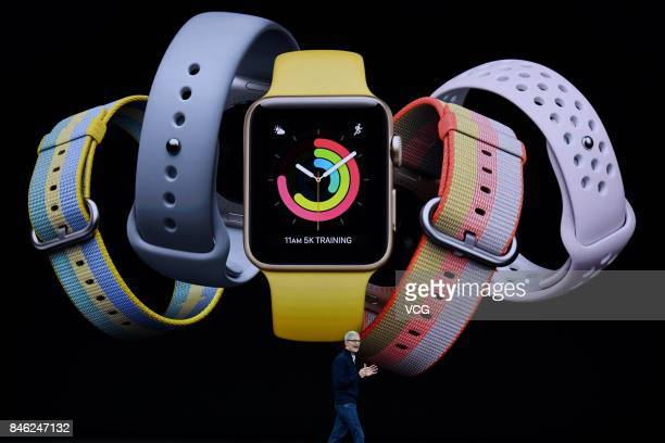 Apple CEO Tim Cook introduces Apple Watch during the Apple launch event on September 12 2017 in CupertinoCalifornia Apple Inc unveiled its new iPhone...