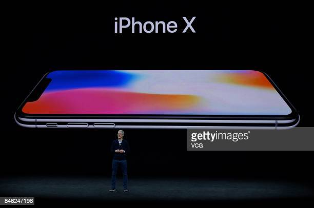 Apple CEO Tim Cook introduces iPhone X during the Apple launch event on September 12 2017 in CupertinoCalifornia Apple Inc unveiled its new iPhone 8...