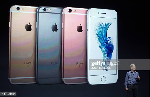 Apple CEO Tim Cook introduces the iPhone 6s during an Apple media event in San Francisco California on September 9 2015 Apple unveiled its iPad Pro...