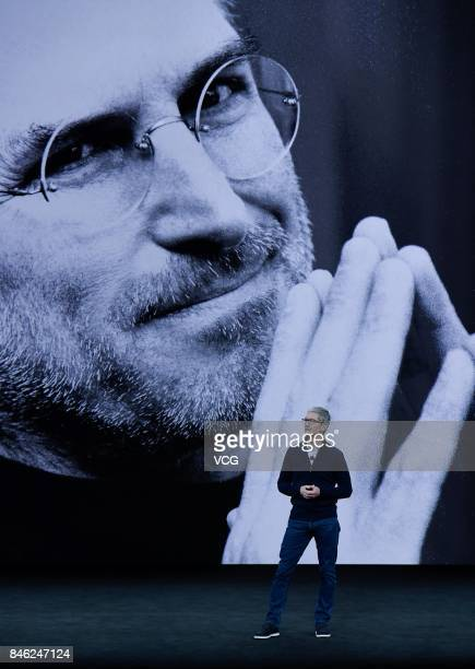Apple CEO Tim Cook makes speech during the Apple launch event on September 12 2017 in Cupertino California Apple Inc unveiled its new iPhone 8 iPhone...