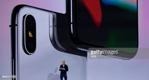 Apple CEO Tim Cook makes speech during the Apple launch event on September 12 2017 in CupertinoCalifornia Apple Inc unveiled its new iPhone 8 iPhone...