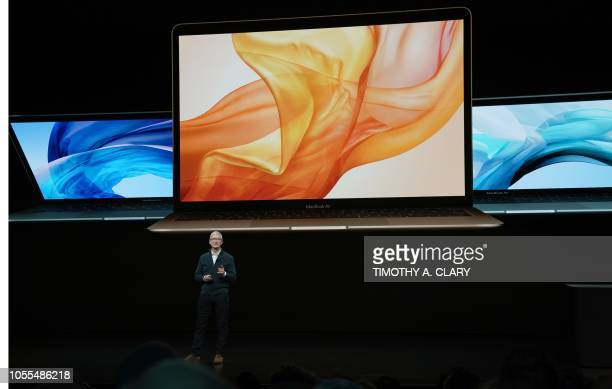 Apple CEO Tim Cook presents new products during a special event at the Brooklyn Academy of Music Howard Gilman Opera House October 30 in New York