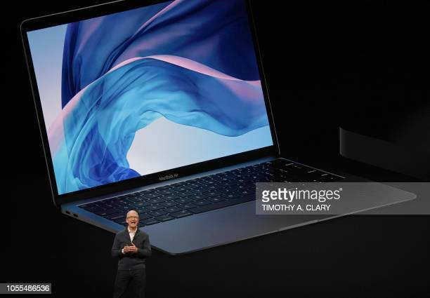 Apple CEO Tim Cook presents new products including new Macbook laptops during a special event at the Brooklyn Academy of Music Howard Gilman Opera...