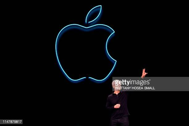 Apple CEO Tim Cook presents the keynote address during Apple's Worldwide Developer Conference in San Jose California on June 3 2019