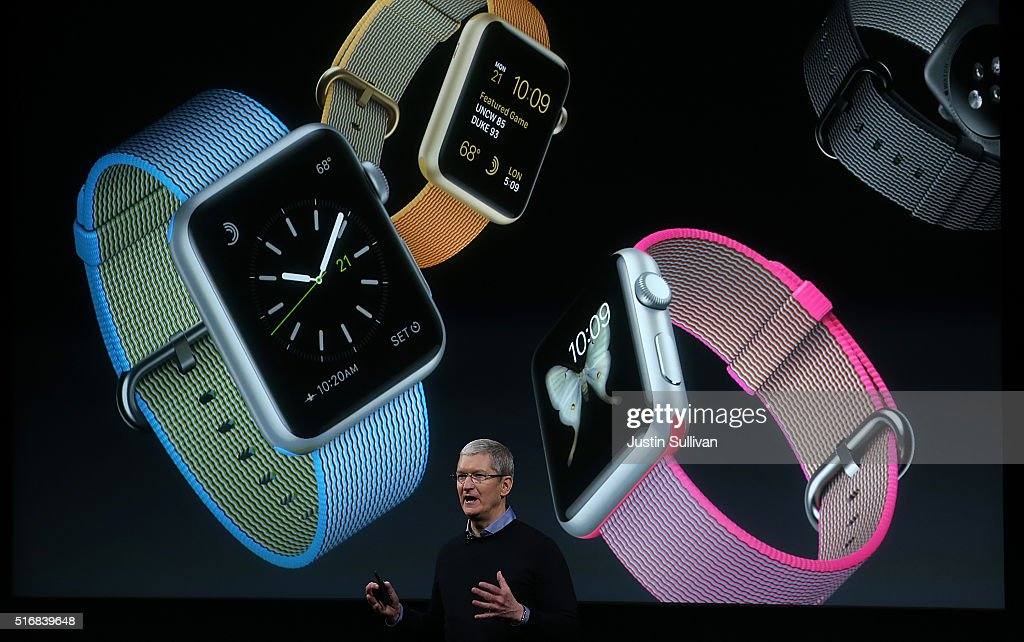Apple CEO Tim Cook speaks about the Apple Watch during an Apple special event at the Apple headquarters on March 21, 2016 in Cupertino, California. The company is expected to update its iPhone and iPad lines, and introduce new bands for the Apple Watch.