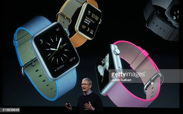 Apple CEO Tim Cook speaks about the Apple Watch during an Apple special event at the Apple headquarters on March 21 2016 in Cupertino California The...