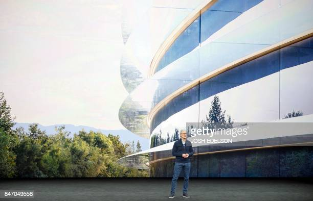 Apple CEO Tim Cook speaks about the new Apple headquarters during a media event in Cupertino California on September 12 2017