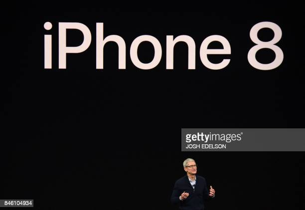 TOPSHOT Apple CEO Tim Cook speaks about the new iPhone 8 during a media event at Apple's new headquarters in Cupertino California on September 12 2017