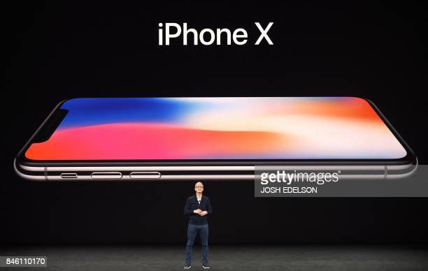 Apple CEO Tim Cook speaks about the new iPhone X during a media event at Apple's new headquarters in Cupertino California on September 12 2017 / AFP...