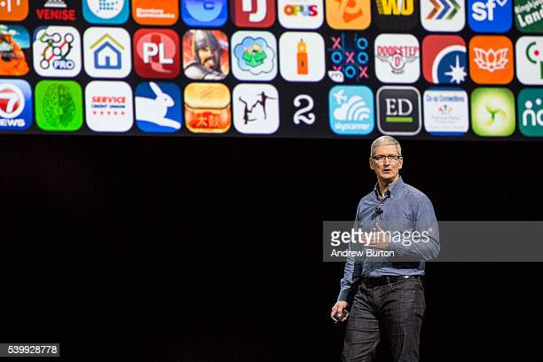 Apple CEO Tim Cook speaks at an Apple event at the Worldwide Developer's Conference on June 13 2016 in San Francisco California Thousands of people...