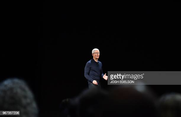 Apple CEO Tim Cook speaks at Apple's Worldwide Developer Conference at the San Jose Convention Centerin San Jose California on Monday June 4 2018
