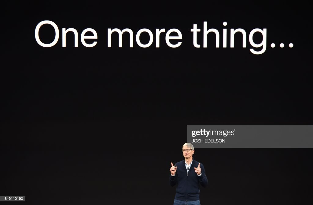 TOPSHOT - Apple CEO Tim Cook speaks during a media event at Apple's new headquarters in Cupertino, California on September 12, 2017. / AFP PHOTO / Josh Edelson