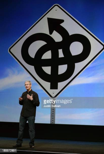 Apple CEO Tim Cook speaks during an Apple announcement at the Yerba Buena Center for the Arts on October 22, 2013 in San Francisco, California. The...
