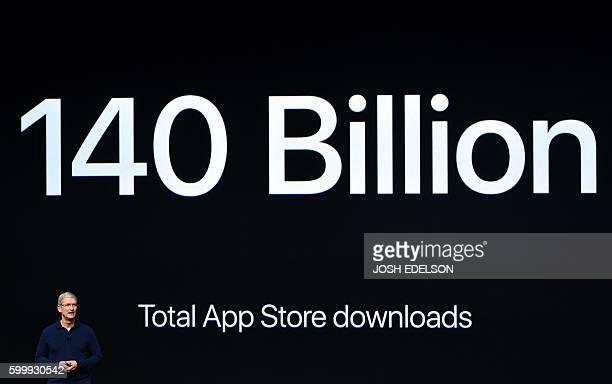 Apple CEO Tim Cook speaks during an Apple event inside Bill Graham Civic Auditorium in San Francisco California on September 7 2016 Apple on...