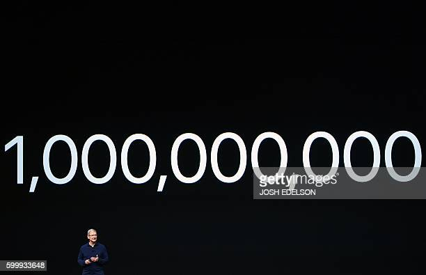 Apple CEO Tim Cook speaks during an Apple event inside Bill Graham Civic Auditorium in San Francisco California on September 7 2016 Apple on...