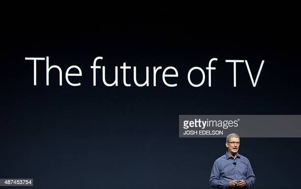 Apple CEO Tim Cook speaks during an Apple media event in San Francisco California on September 9 2015 Apple unveiled its iPad Pro saying the...