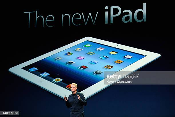 Apple CEO Tim Cook speaks during an Apple product launch event at Yerba Buena Center for the Arts on March 7, 2012 in San Francisco, California. In...