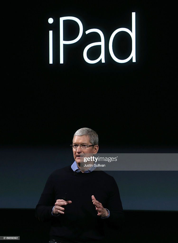 Apple CEO Tim Cook speaks during an Apple special event at Apple headquarters on March 21, 2016 in Cupertino, California. Apple CEO TIm Cook announced the iPhone SE and a 9.7' version of the iPad Pro.