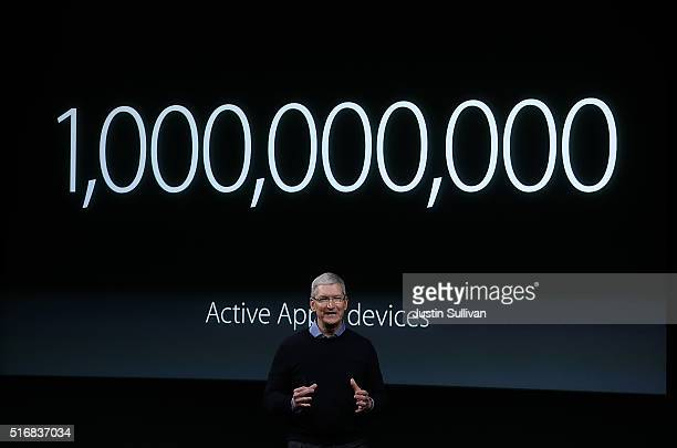Apple CEO Tim Cook speaks during an Apple special event at the Apple headquarters on March 21 2016 in Cupertino California The company is expected to...