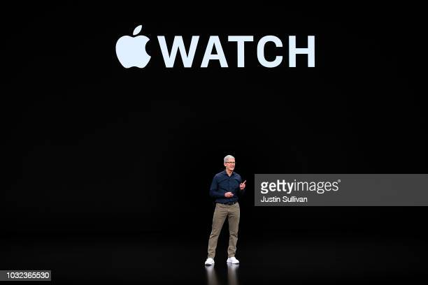 Apple CEO Tim Cook speaks during an Apple special event at the Steve Jobs Theatre on September 12 2018 in Cupertino California Apple released three...