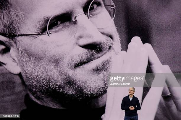 Apple CEO Tim Cook speaks during an Apple special event at the Steve Jobs Theatre on the Apple Park campus on September 12, 2017 in Cupertino,...