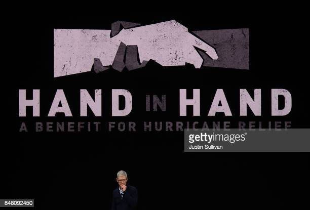 Apple CEO Tim Cook speaks during an Apple special event at the Steve Jobs Theatre on the Apple Park campus on September 12 2017 in Cupertino...