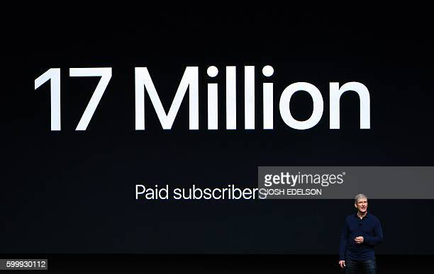 Apple CEO Tim Cook speaks during an event inside Bill Graham Civic Auditorium in San Francisco California on September 7 2016 Apple on Wednesday is...