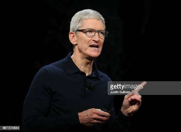 Apple CEO Tim Cook speaks during the 2018 Apple Worldwide Developer Conference at the San Jose Convention Center on June 4 2018 in San Jose...