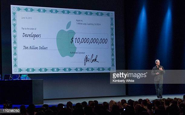 Apple CEO Tim Cook speaks during the keynote address during the 2013 Apple Apple Worldwide Developers Conference at the Moscone Center on June 10,...