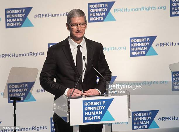 Apple CEO Tim Cook speaks onstage at the Robert F Kennedy human rights 2015 Ripple of Hope awards at New York Hilton Midtown on December 8 2015 in...