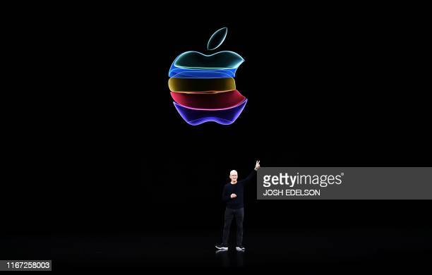 Apple CEO Tim Cook speaks on-stage during a product launch event at Apple's headquarters in Cupertino, California on September 10, 2019. - Apple...