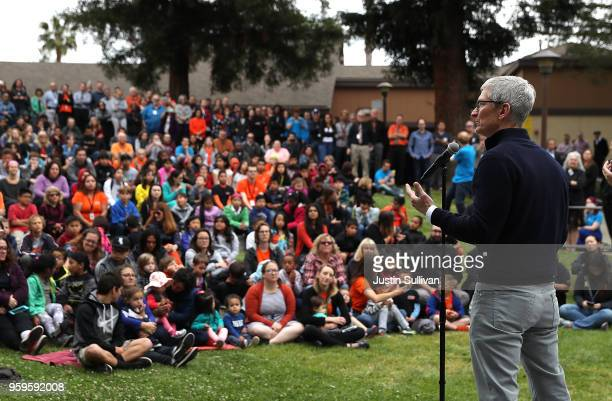 Apple CEO Tim Cook speaks to students at the California School for the Deaf on May 17 2018 in Fremont California Cook and actor model and activist...